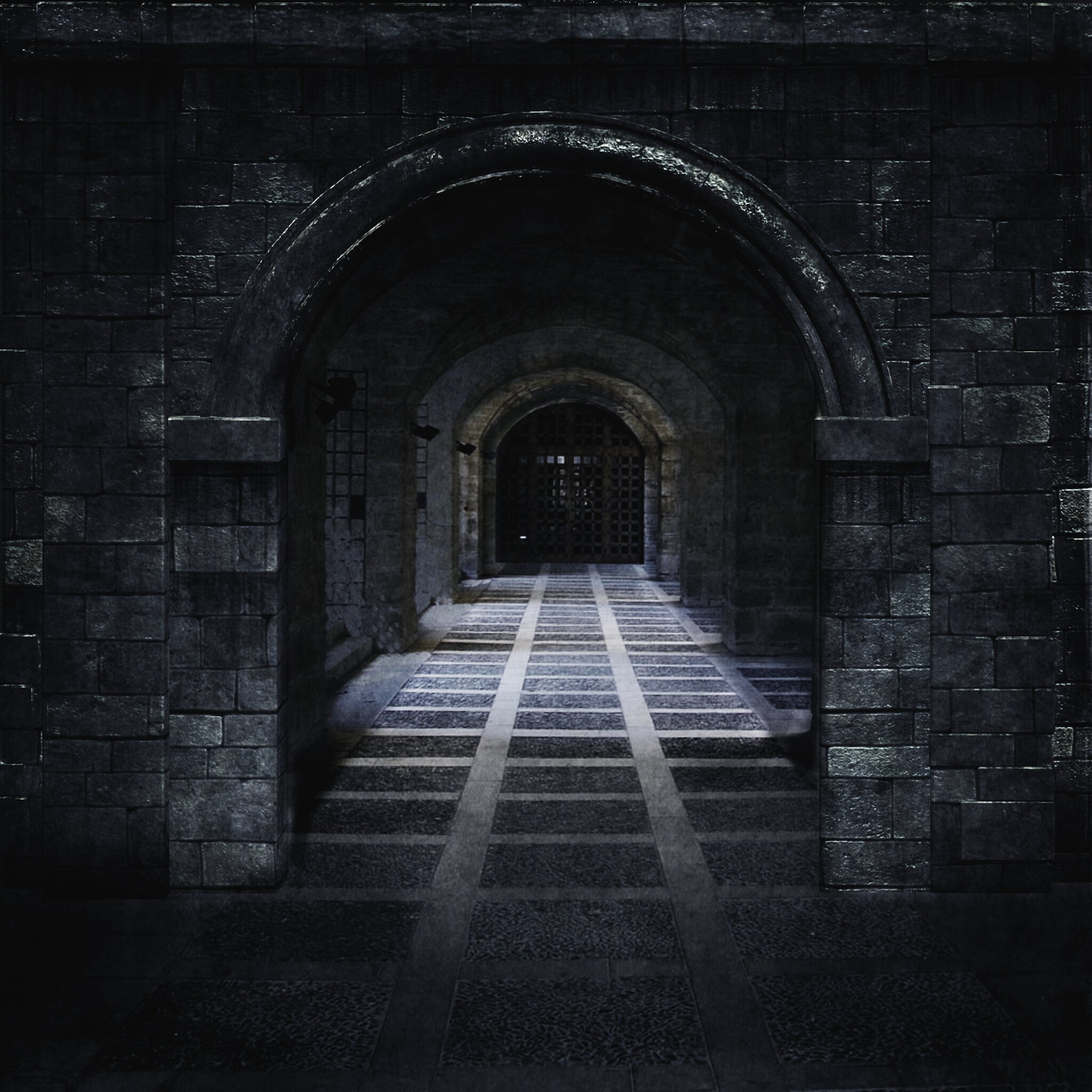 Dimly lit tiled corridor through archways . A heavy metal grate waits at the end. What's behind it?