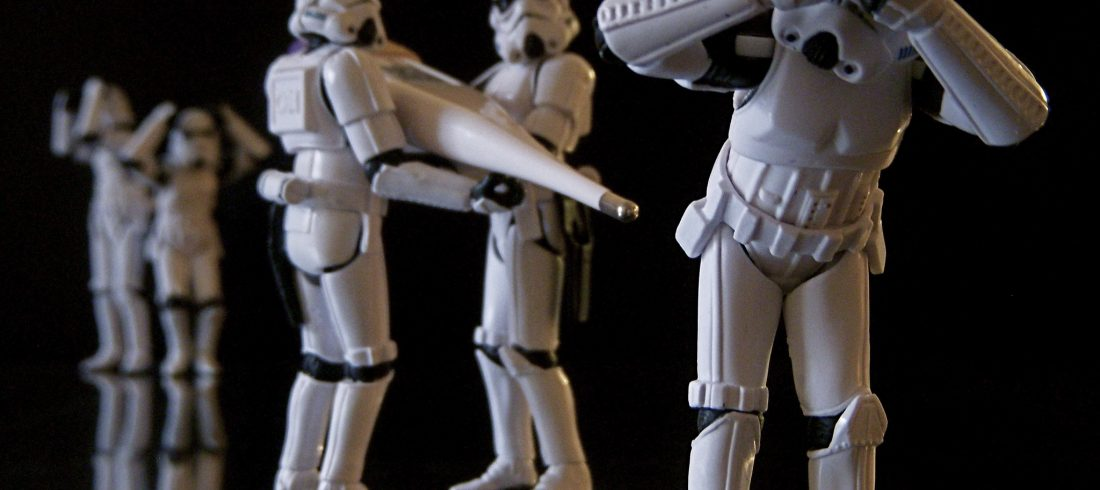 A Storm Trooper prepares for an invasive diagnostic procedure. This might hurt a bit.