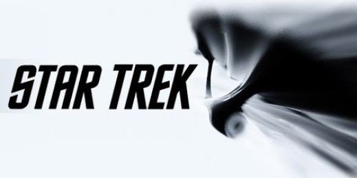 "White background; Black text ""Star Trek"" in all caps on left; silhouette of warping Enterprise on right"