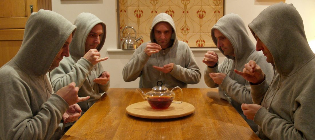 Two for tea? Make it five. Identical. People. Pinkies up, everyone!