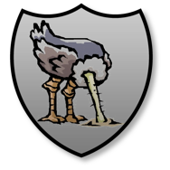 Shield-shaped badge, grey background, with sketched image of ostrich with head buried