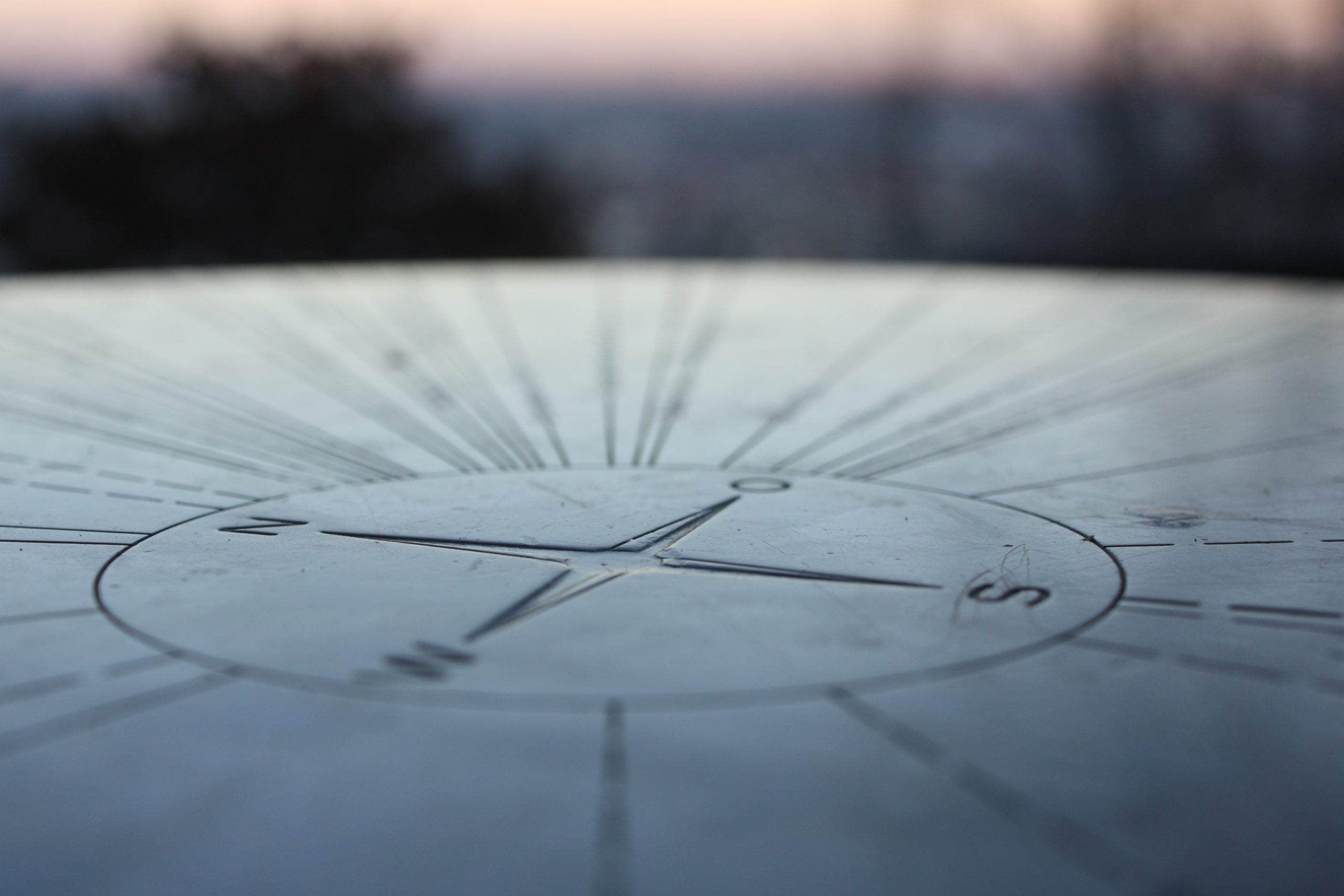 compass etched into stone