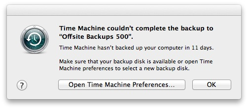 Time Machine notification that a backup disk hasn't been available for 11 days