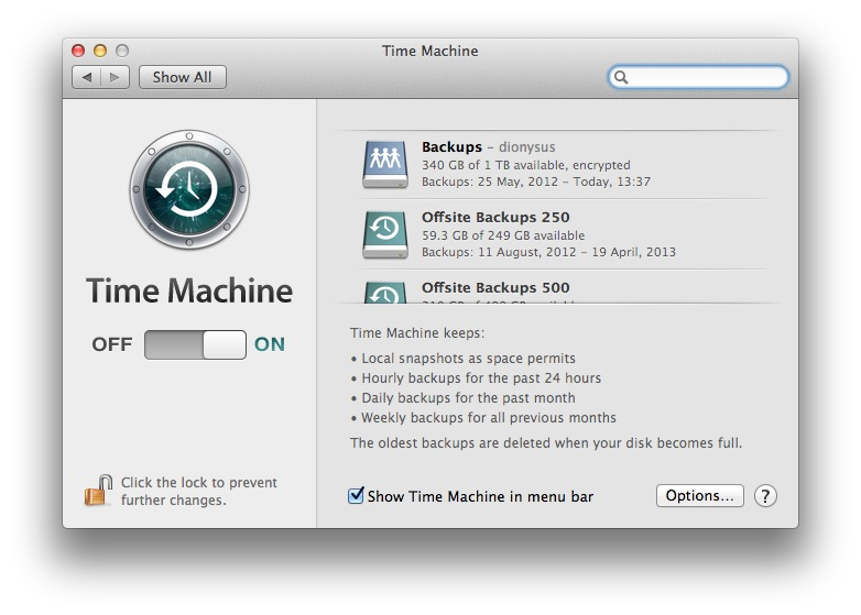 screenshot of Time Machine panel of System Preferences
