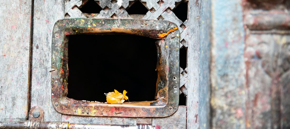 Offerings from morning prayers remain in the temple at Changu Narayan, Nepal.