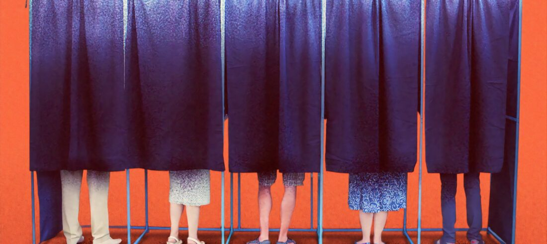 Five people stand in polling stations, white legs exposed but torsos hidden behind curtains. How hard will it be to recreate this scene in November?