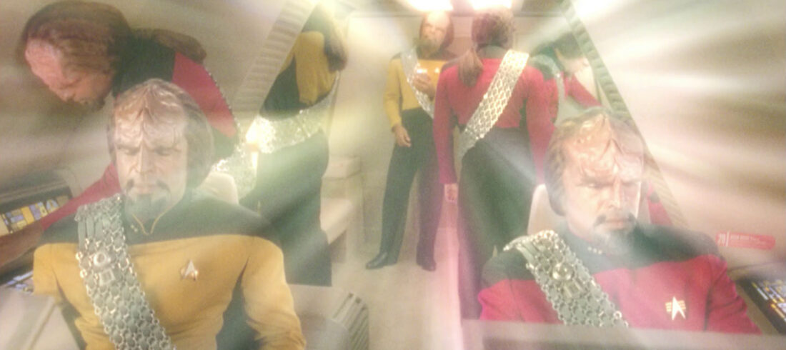 Shuttlecraft interior at a point of quantum convergence. From this perspective, seven Worfs appear inside.